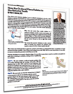 How the Occlusal Plan Relates to the Anterior Teeth