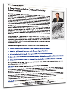 5 Requirements for Occlusal Stability